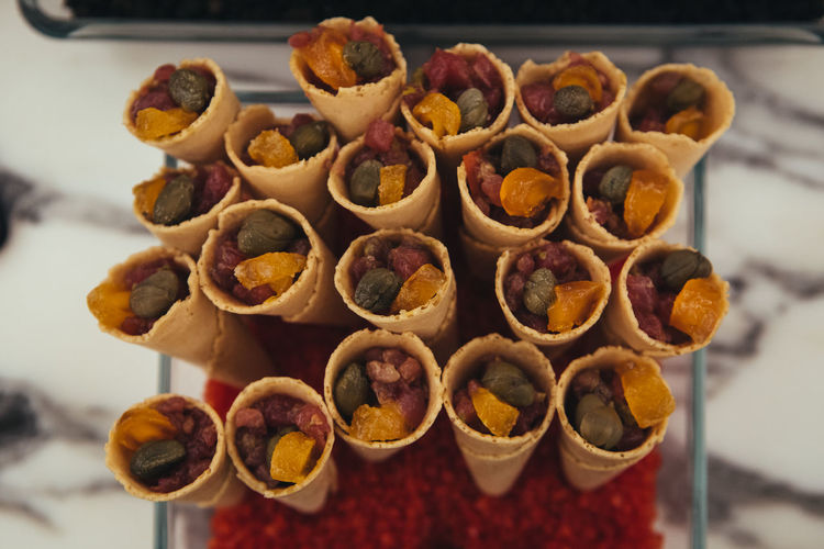 Catering Food in Cones Waffle Breakfast Catering Catering Service Close-up Dessert Focus On Foreground Food Food And Drink Freshness High Angle View Indoors  Indulgence Large Group Of Objects No People Nut Nut - Food Ready-to-eat Snack Still Life Sweet Sweet Food Table Temptation