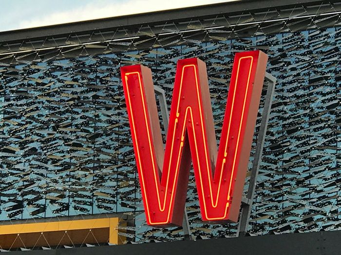 Buchstabe Letter W Red Text Built Structure Architecture Communication No People Day Low Angle View Outdoors Building Exterior Neon