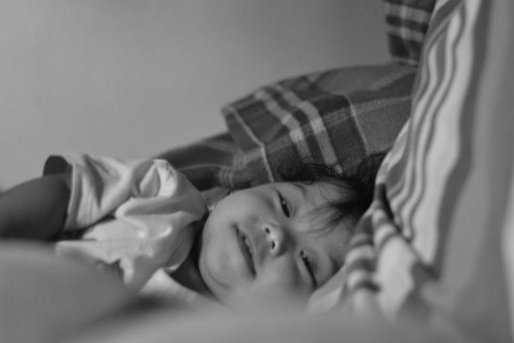 #babyalexa #cute #adorable #sleeptime #nikonshooter #nikonshooteraroundtheworld #nikonphotography #nikonportrait #iamnikonph #monochrome #blackandwhit #litratistangpinoy #maniniyot #ilovetakingpictures #photographerslife #asianphotographer #streetpho Bed Bedroom Child Indoors  Lying Down Pillow