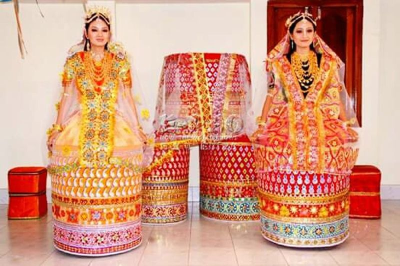 Traditional Clothing Cultures Only Women Adult Young Adult Indoors  Full Length Young Women Adults Only Jewelry Beautiful Woman People Sari Pattern Front View Beautiful People Standing Bangle Beauty Two People In Manipur, India