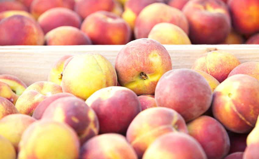 Close-Up Of Peaches At Market
