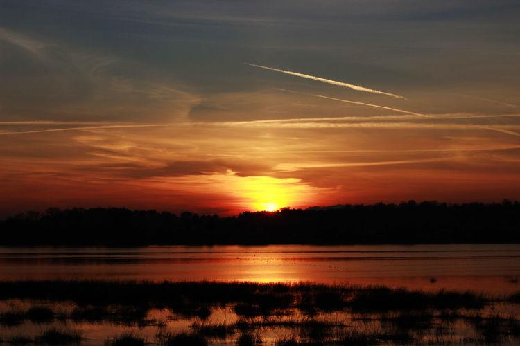 Cloud - Sky Landscape Non-urban Scene Orange Color Outdoors Scenics Silhouette Sky Sun Sunset Water
