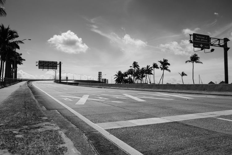 Empty road by palm trees against sky in city