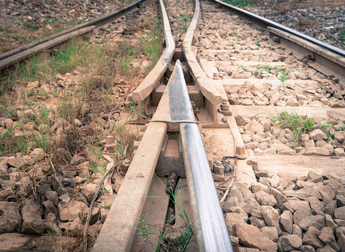 track changing point near railway station Advanture Choice Choose Different Direction Forward Go Hard Lay LINE Metal Old Parallel Perspective Rail Railway Right Road Steps Straight Travel Way Wood Wooden Wrong