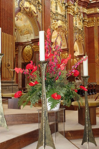 Melk, Austria - candles and flowers in the Melk Abbey Abbey Brass Candles Candlesticks Cathedrals  Flower Display Golden Melk Let's Go. Together.