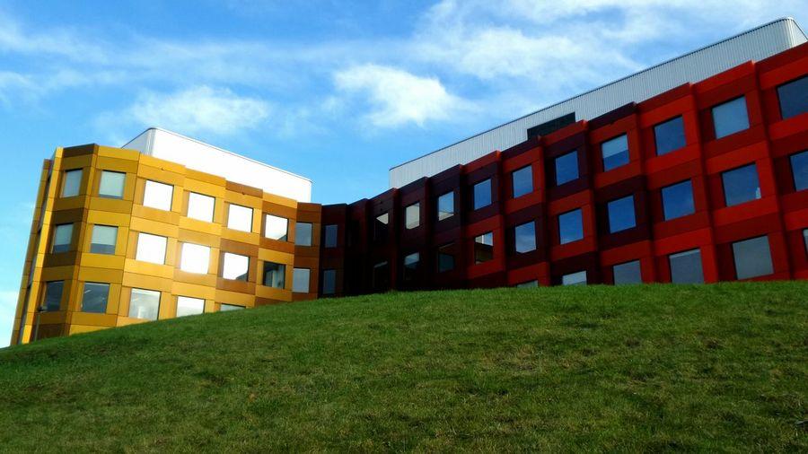 Exterior of modern building against blue sky