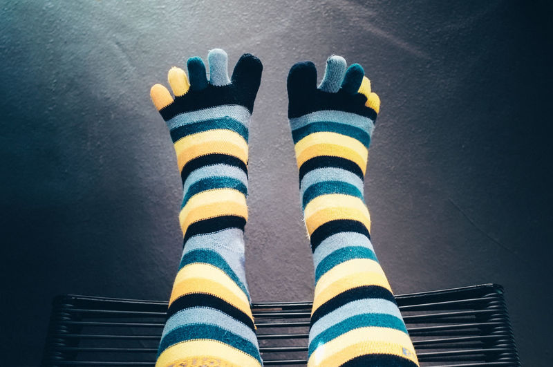 Close-up Day Feet Up Human Body Part Human Leg Indoor Light From Above Low Section Multi Colored One Person Sock Stripes Pattern TK Maxx Socksie Fresh on Market 2016 Break The Mold BYOPaper!