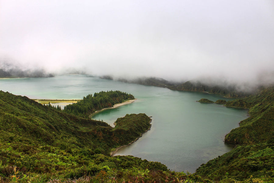 Lake of Fire Beauty In Nature Day Fog Grass Lagoa Do Fogo Lake Lake Of Fire Landscape Nature No People Outdoors Ponta Delgada Scenics Sky Tranquil Scene Tranquility Tree Water Lost In The Landscape Perspectives On Nature