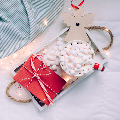 Marshmallows New Year Christmas Merry Plaid Cup Hot Warm Coffee Winter Cozy Home Chocolate Bed Holiday Mug Cocoa Flat Lay Creative Top View Happy Decor Gift Present Festive Decoration 2019 Wooden Toy Seasonal Greeting Space Copy Xmas Day Inspiration Postcard Morning Natural Lights Drink Sweet Comfort Tray Beverage Lifestyle Blanket