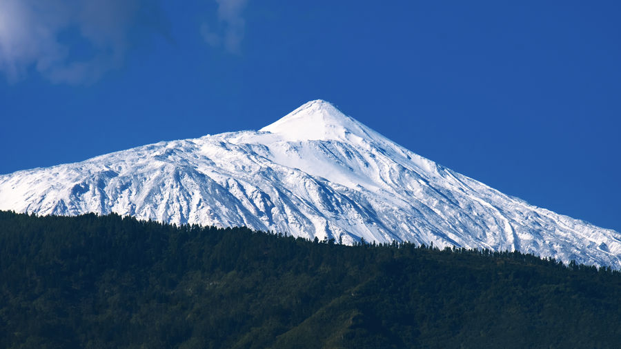 Scenic view of snowcapped mountain against blue sky