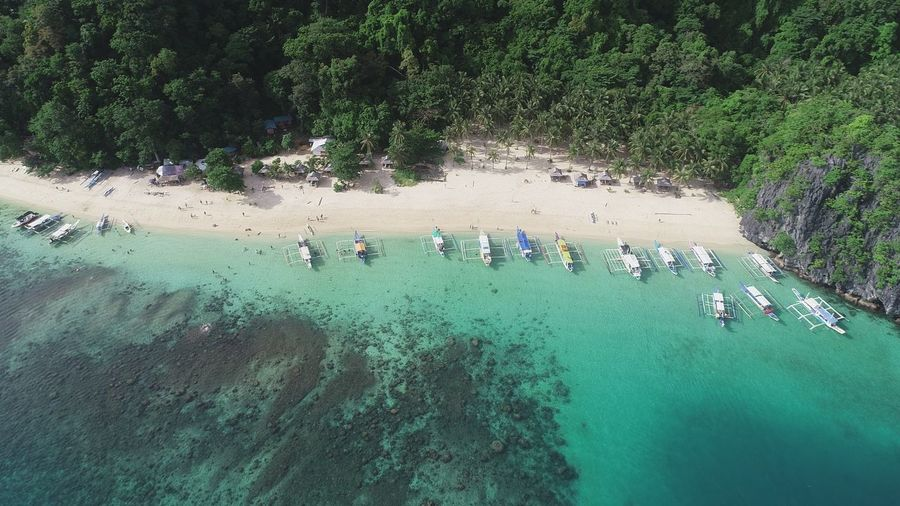 Aerial view of outriggers in sea