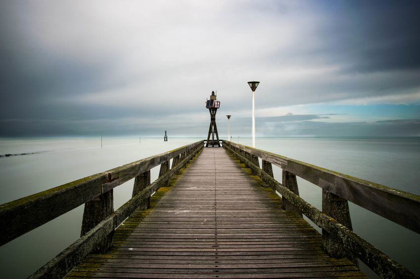 Beauty In Nature Bridge Cloud Cloud - Sky Clouds Clouds And Sky Horizon Over Water Long Mer Nature Nikon NIKON D5300 Normandie Ponton Sea Sea And Sky Sea View Sky Tranquil Scene Tranquility Water Wood - Material