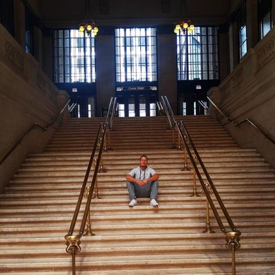 """Young male sitting on """"The Untouchables"""" staircase at Union Station, Chicago. Chigago Adult Adults Only Architecture Day Full Length Hand Rail Indoors  Leisure Activity Lifestyles Men One Man Only One Person People Real People Sitting Staircase Stairs Steps Steps And Staircases The Untouchables Union Station Chicago Young Adult"""