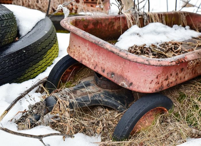 Abandoned red wagon in winter grass and snow Rusty No People Close-up Day Outdoors Cold Temperature Winter Minnesota Bradleywarren Photography Bradley Olson Snow Minneapolis Snowflakes Grass Snow Covered Wagon  Wagon Wheel Junkyard Red Wagon Greeting Card  Rustic Vintage Childhood Memories Childhood Reminiscing