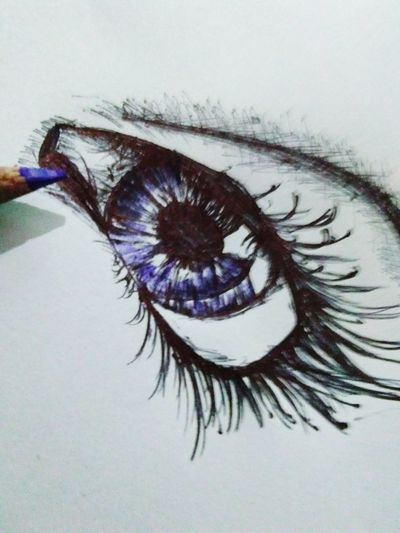 Sketching Eyeshadow Purple Eye Ball Artistic Photography Portrait Only Women Eyelash Human Eye Close-up made by me. .