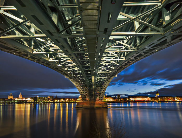 Underneath view of illuminated bridge over river in city at dusk