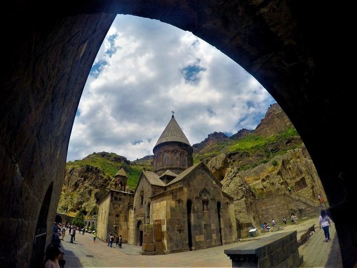 Geghard Monastery Goprohero4 Armenia EyeEm Best Shots EyeEmNewHere Geghard Monastery Ancient Architecture Built Structure Cloud - Sky History Low Angle View Nature Outdoors Sky Travel Destinations My Best Travel Photo