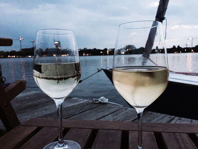 Drink Wineglass Wine Still Life Outdoors Summer Außenalster Hamburg