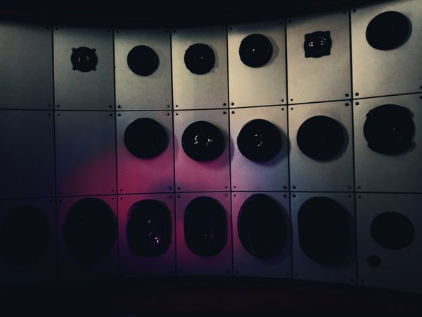 Speakers in the dark. Close-up Vibration Abstract Sensory Perception