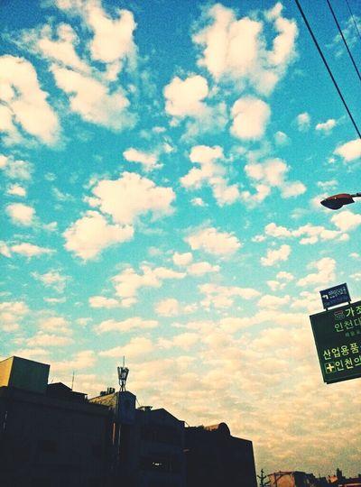 정말 하늘이 예뻤던 10월 20일 오후 5시. 정말 말로만 듣던, 그림같았던 하늘이였다. 사진이 한 장 밖에 없다는게 아쉬울 따름이다 .