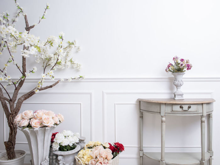 Flowers Against White Wall