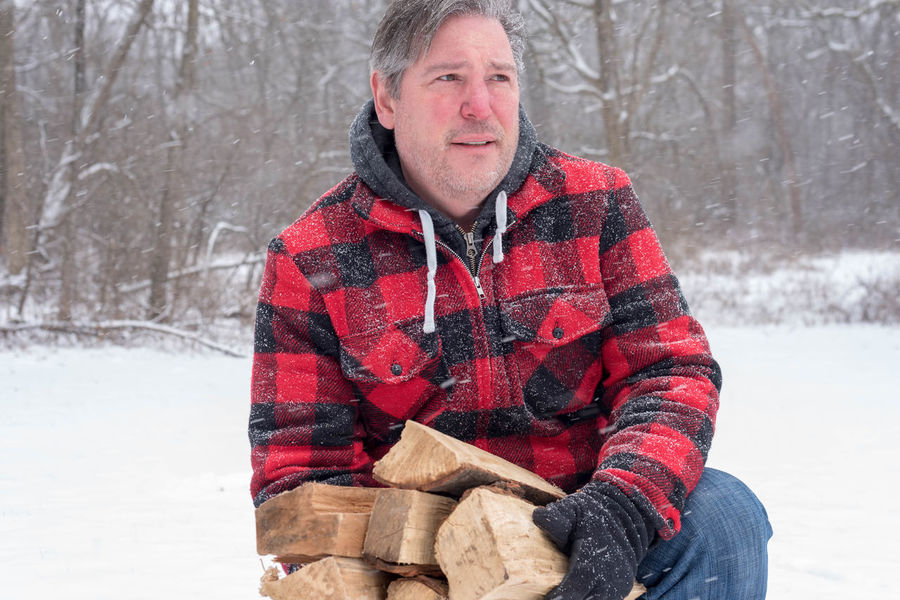Adult Bundle Man Rugged Snow ❄ Weather Winter Wintertime Wood Black Buffalo Check Cold Temperature Firewood Jacket Logs person Plaid Rosy Season  Snow Snowfall Snowing Snowstorm Snowy Wool