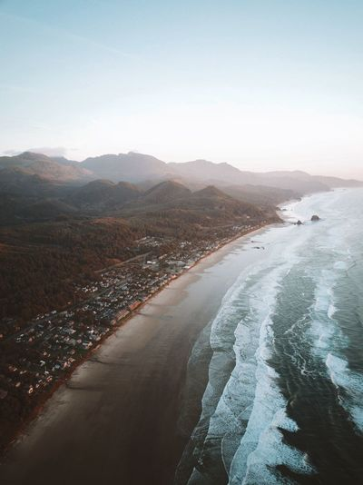 Cannon Beach, Oregon Beachphotography Aerialview Aerial Landscape Aerial View Aerial Photography Droneshot Dronephotography Waves Beautiful Coastal Landscape Cannon Beach, OR Cannon Beach Oregon Sky Nature Scenics - Nature Water Beauty In Nature Mountain Sea First Eyeem Photo