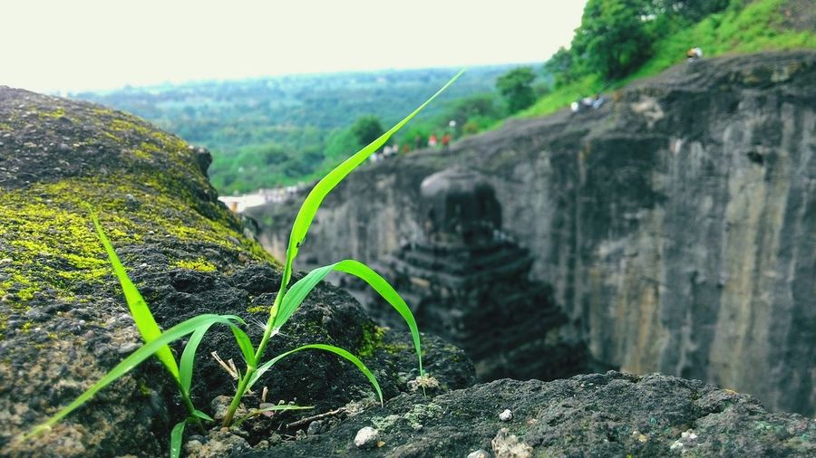 My Year My View World Heritage Site Elloracaves First Eyeem Photo Beautiful Rocky Carved In Stone Incredible India Weather Happiness Green Gray Sky Blue Misty Morning Check This Out Hanging Out Cheers To The Freakin Weekend Cheers To Summer Cheers To The Nature Shine Asuszenfonemaxphotography Mystrious at Ellora Caves, Aurangabad, India 😍😘😊