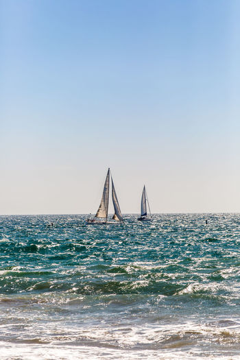 Sailboat sailing in sea against clear sky