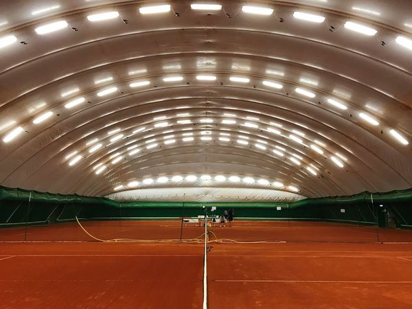 🎾 🎾 🎾 Tennis Net Tennis Court Illuminated Architecture Indoors  Built Structure Lighting Equipment Ceiling Night No People Empty Sport Electric Light Capture Tomorrow