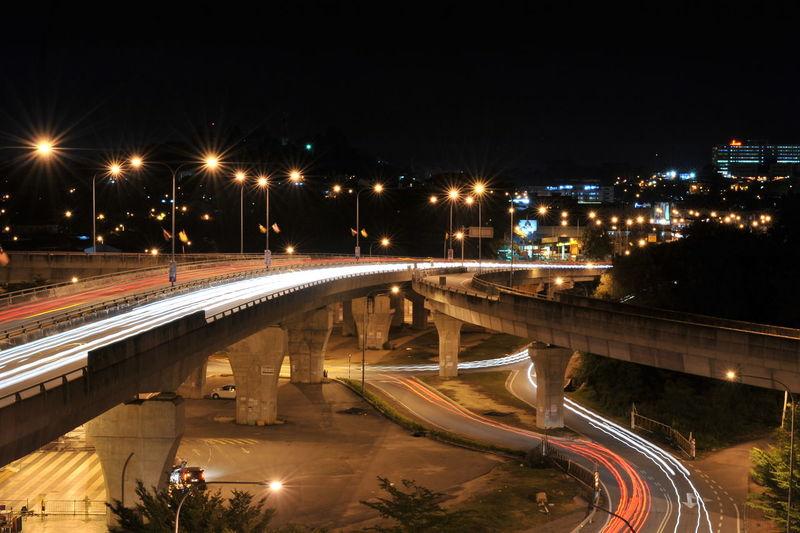 City City Life Dark Glowing Illuminated Light Trail Lighting Equipment Motion Night No People Outdoors Road Sky Street Light