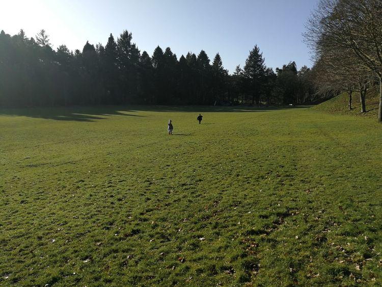 Running across the park Park Grass Field Running Childhood