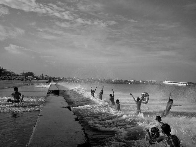 A Taste Of Life Street Purefun Fun Swimming Beach Blackandwhite Balck And White Monochrome Happy People