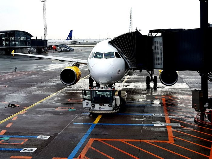 Denmark Airplane Commercial Airplane Airport Departure Area Air Vehicle Airport Passenger Boarding Bridge Boarding Airport Terminal Jet Engine Aeroplane Transportation Building - Type Of Building Aerospace Industry