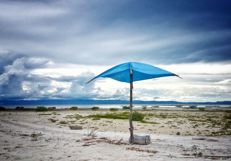 Water Sea Beach Sand Summer Protection Sky Horizon Over Water Cloud - Sky Beach Umbrella Shelter Sunshade Sandy Beach Calm Countryside Shore
