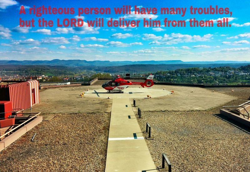 Helicopter Hospital Landscape Trouble Bible Verses Psalm Clouds And Sky Bibel  From The Rooftop Heli