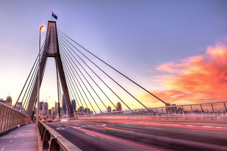 ANZAC ANZAC Bridge Architecture Bridge - Man Made Structure City Outdoors Pyrmont Sky Sunrise Sunrise_Collection Sunrise_sunsets_aroundworld Sydney Sydney, Australia Travel Destinations The Architect - 2017 EyeEm Awards