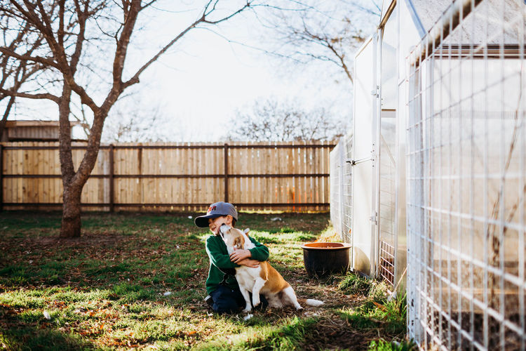 Dog and woman with dogs on fence against plants