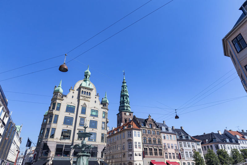 The Stork Fountain with beautiful Danish buildings and a Church Spire. Architecture Denmark Scandinavia Statue Swimming Tourist Attraction Canal Church Of Our Saviour Copenhagen Danish Destination Historical History Landscape Nyhavn Outdoors Red Fort Relax Rundetaarn Spire  Summer Swim Tourism Traditional