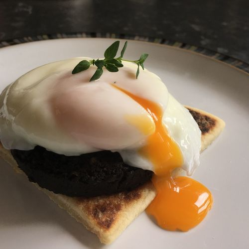 Brunch is served... Poached Egg Black Pudding Tattie Scones Brunch Time Foodphotography Foodblogger Foodblog Food Porn Food Photography Food Lover Yum! World Egg Day