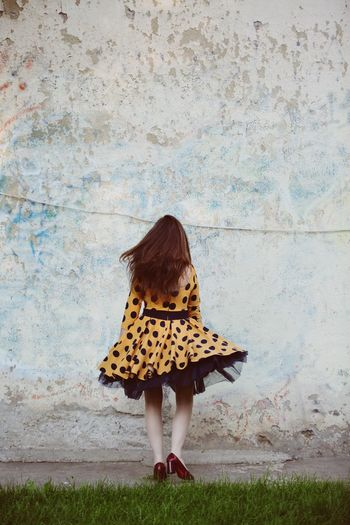 Dress Walking Away No Face Wall Girl Rear View Children Only Child People Outdoors Day