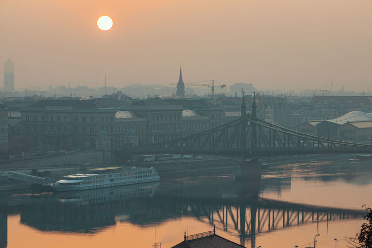 Bridge over river against buildings during sunset