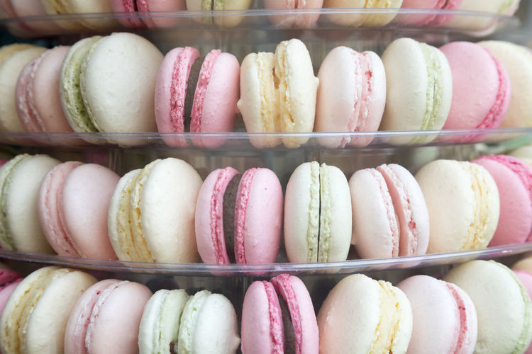 Close-up of multi colored macaroons for sale