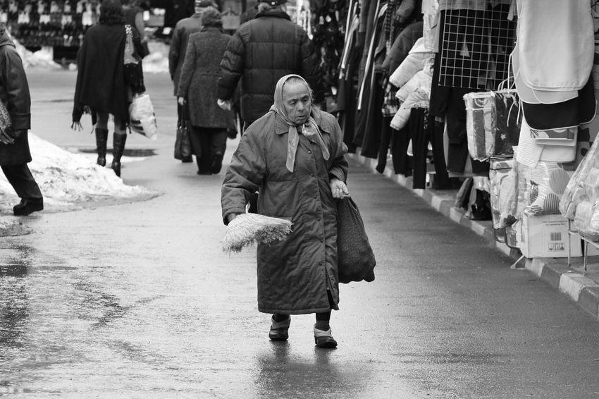Besen Bulgaria City City Life Day Fragility Lifestyles Oma Person S/w Street Trzoska Walking Warm Clothing Winter