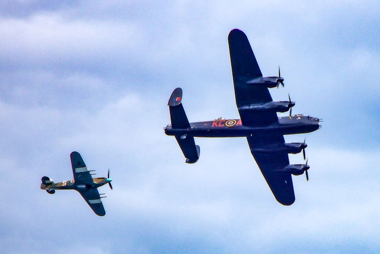 Avro Lancaster Hawker Hurricane Lancaster Air Vehicle Airplane Cloud - Sky Day Flying Hawker Hurricane Lancaster Bomber Low Angle View Mid-air No People Outdoors Sky Speed Transportation