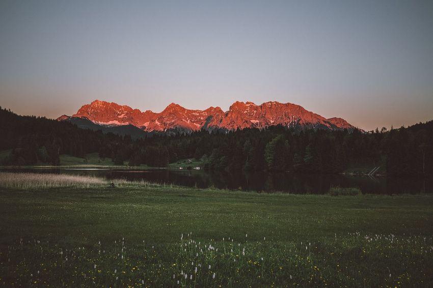 Beauty In Nature Tranquility Landscape Idyllic Mountain Range Nature Mountain Sky Sunset Karwendel Mittenwald Bavaria Bavarian Alps Naturelovers Naturephotography Beauty In Nature Alps Weroamgermany Karwendelgebirge Lake