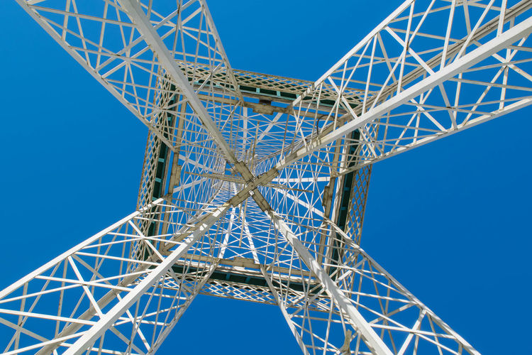 Directly below shot of replica eiffel tower against clear sky