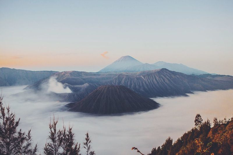 Majestic view of mt bromo against sky
