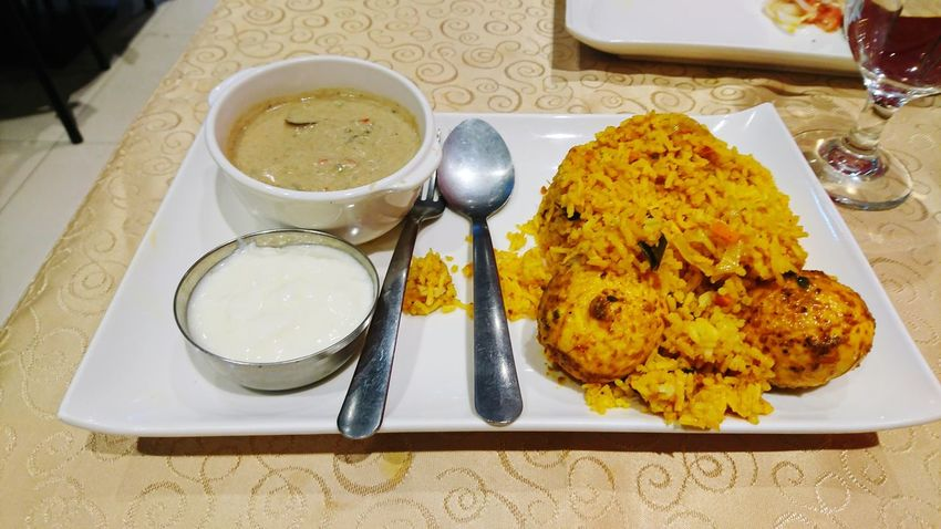 Plate High Angle View Food And Drink Indoors  Food Ready-to-eat Table No People Fork Healthy Eating Freshness Day Close-up Egg Biryani Biryani