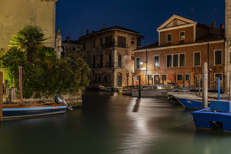 Architecture Built Structure Night Moored Canal Travel Destinations City Transportation Water Illuminated Building Exterior Mode Of Transportation Nautical Vessel Reflection Architecture Building Travel Nature Dusk No People Gondola - Traditional Boat